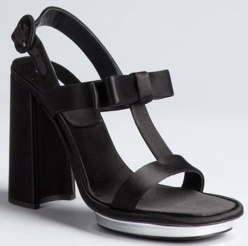 Prada Satin Bow-Embellished Sandals
