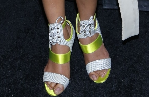 "Priyanka Chopra in yellow-and-silver ""Melbourne"" booties from Gio Diev"