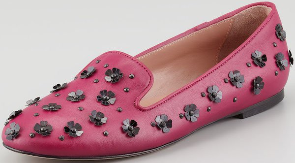 RED Valentino Flower Paillete Smoking Slippers in Raspberry
