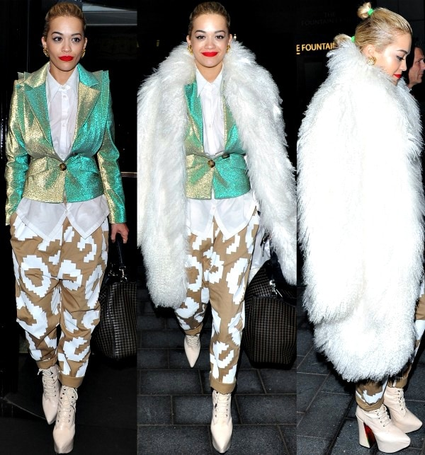 Rita Ora leaving The Dorchester Hotel after a dinner with friends in London, England, on December 12, 2013