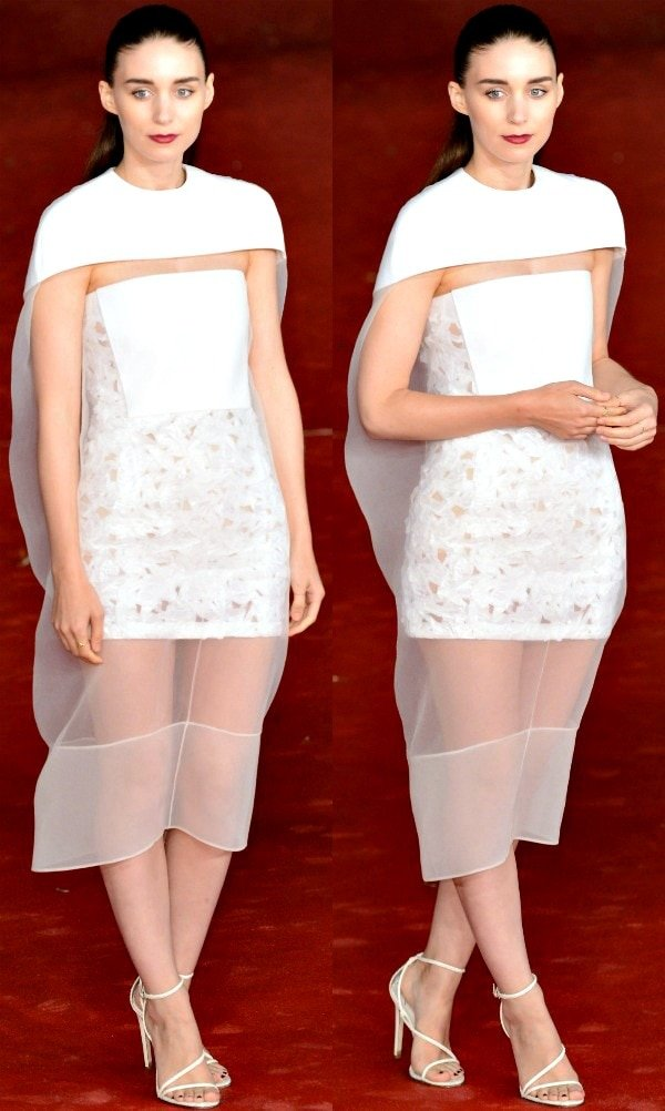 Rooney Mara wore a gorgeous frock with crushed lurex and sheer organza overlay from Balenciaga