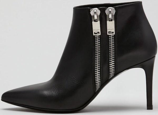 Saint Laurent Double-Zipper Point-Toe Ankle Boots