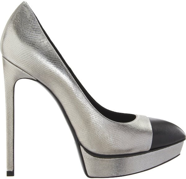 "Saint Laurent Cap-Toe ""Janis"" Pumps in Metallic Snakeskin"