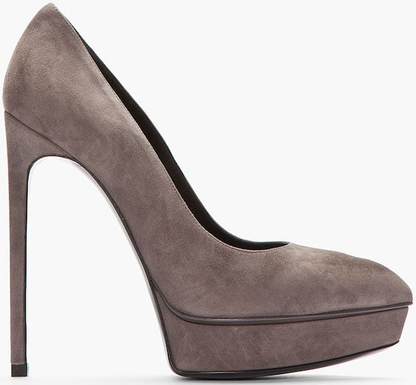 "Saint Laurent ""Janis"" Pumps in Earth Gray Suede"