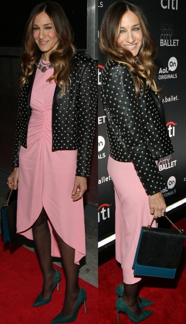 Sarah Jessica Parker looked like she stepped right out from an episode of 'Sex and the City' in a studded black blazer from Saint Laurent over a pink dress from Giles