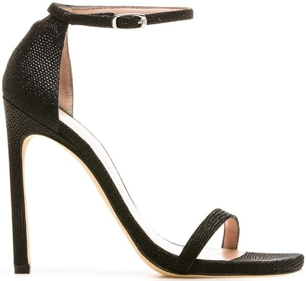 "Stuart Weitzman ""Nudist"" Sandals in Black Goose Bump Nappa"