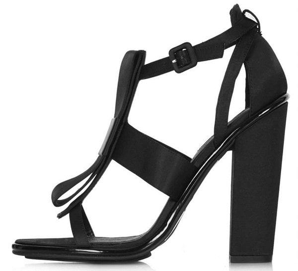 Topshop Rasberry Satin Bow-Embellished Sandals
