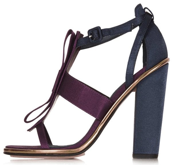 """Topshop """"Raspberry"""" Bow-Embellished Sandals in Purple/Blue"""