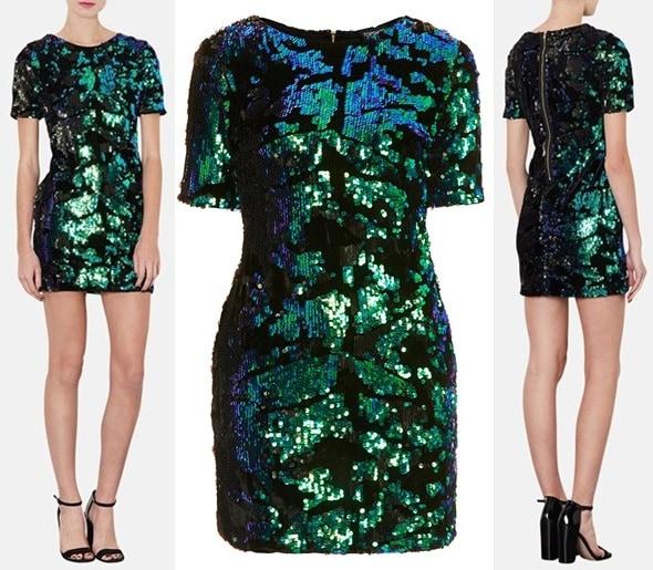 Topshop Sequin Velvet Shift Dress