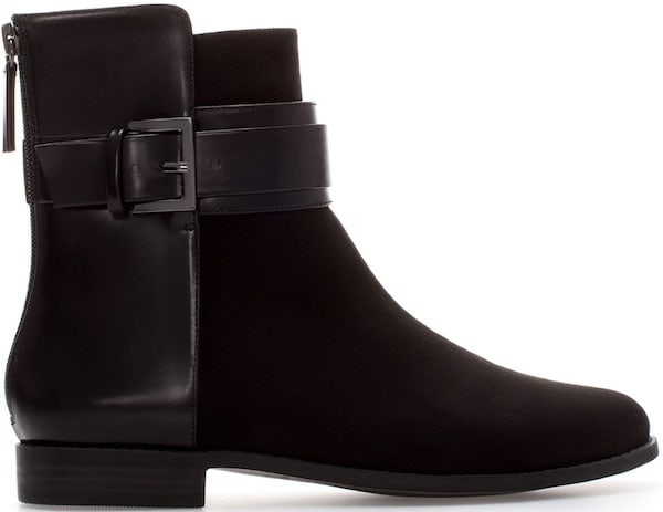 Zara Flat Ankle Boots with Buckles