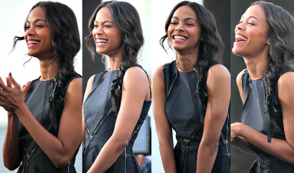 Zoe Saldana on the set of 'Extra' at Universal CityWalk in Universal City