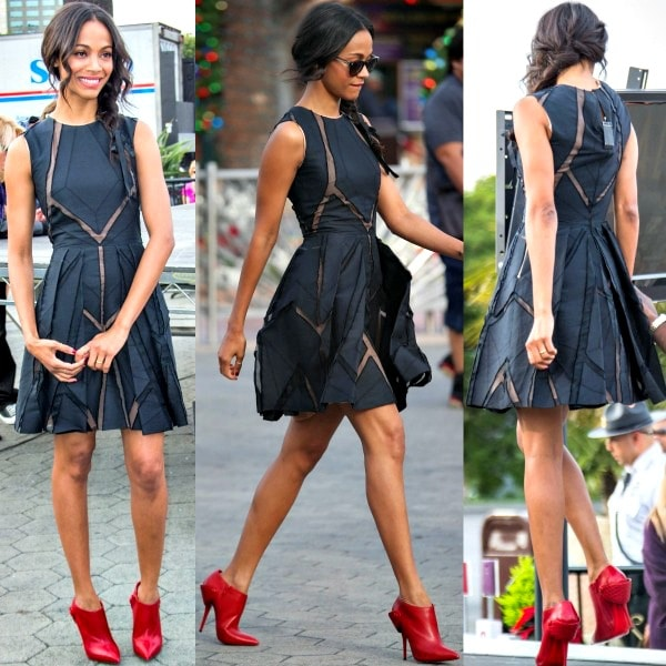 Zoe Saldana in a sleeveless frock from Elie Saab