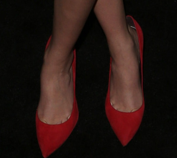 "Zoey Deutch in ""Nouveau"" pumps in red suede from Stuart Weitzman"
