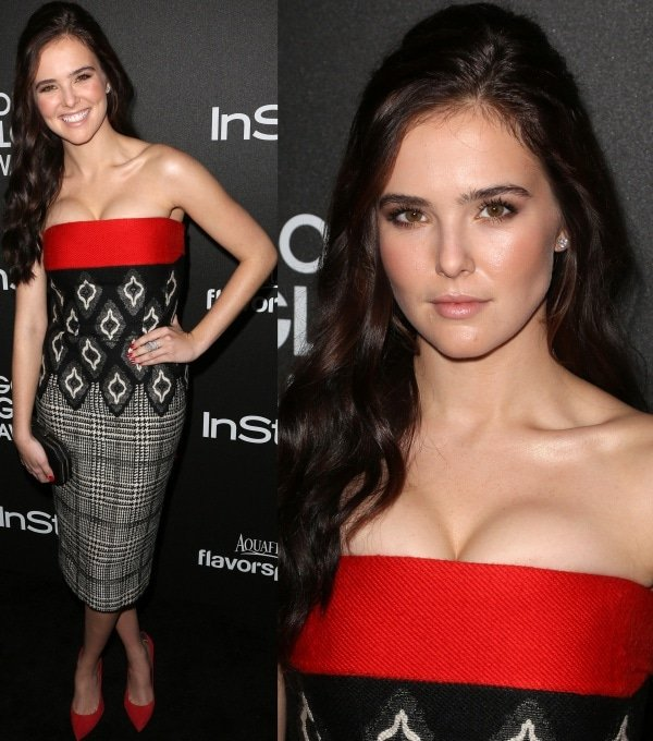 Zoey Deutch wore a strapless colorblock dress with ikat prints from Basler