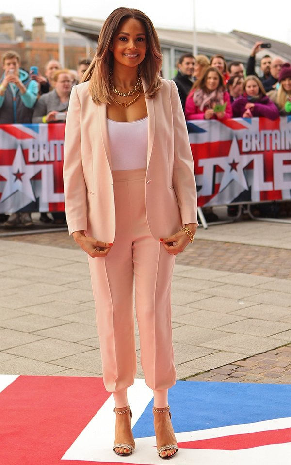 Alesha Dixon looked positively radiant and very pretty in a pastel pink suit