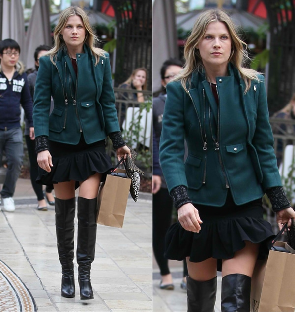 Ali Larter donned a cute pair of thigh-high boots with a pleated skirt