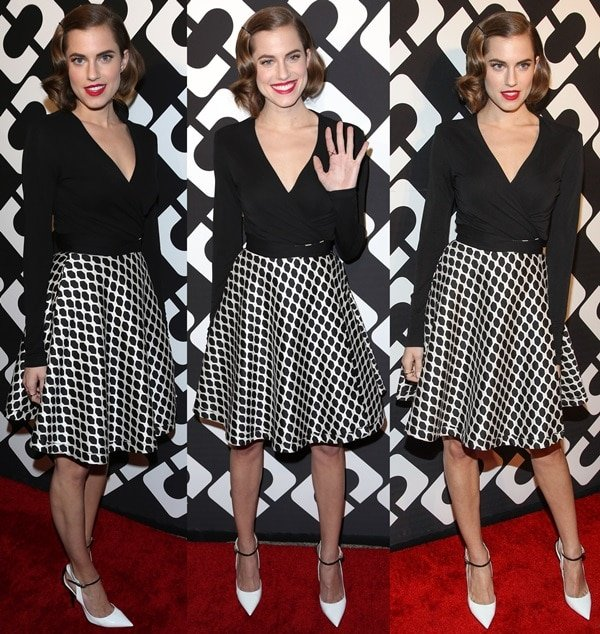 "Allison Williams wearing an Amelia wrap dress from the Diane von Furstenberg Spring 2014 collection styled with white leather Jimmy Choo ""Maiden"" pumps"