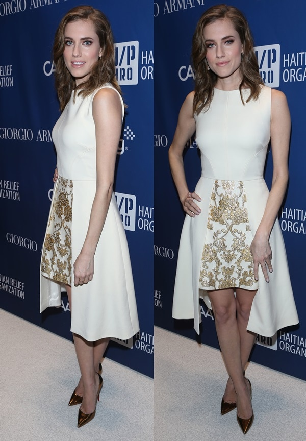 Allison Williams in a daring dress from the Osman Fall 2103 collection featuring a gold embroidered front panel