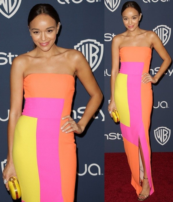 Ashley Madekwe's wool-crepe strapless dress in bright orange, acid yellow, and shocking pink was inspired by paintings of Josef Albers