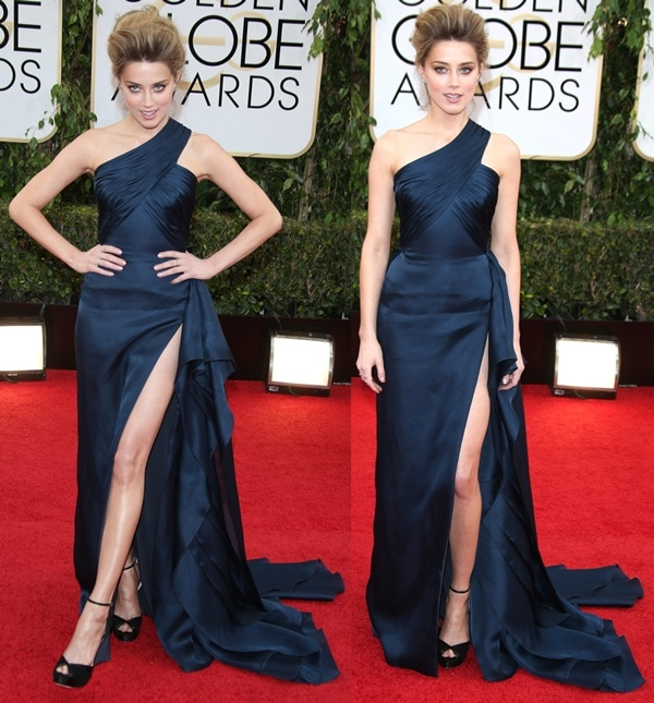 """Amber Heard donned a navy Atelier Versace gown with a ruched neckline that she styled with a pair of black Jimmy Choo """"New Mariah"""" platform heels"""