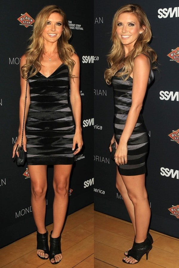 Audrina Patridge flaunts her legs in a mini dress at the 5th Annual Sunset Strip Music Festival