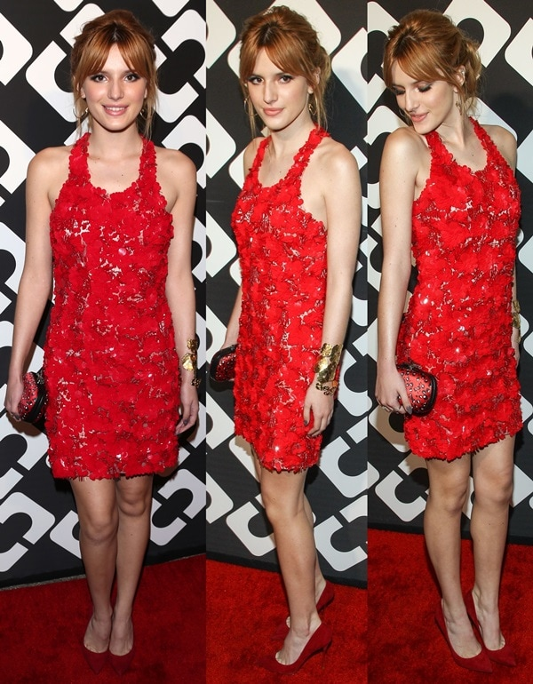 Bella Thorne accessorized with a printed silk/satin Lytton clutch from Diane von Fürstenberg and a gorgeous pair of red suede pointy-toe Nicholas Kirkwood pumps featuring gold heels