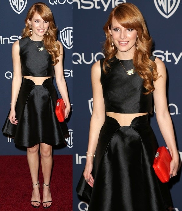 Bella Thorne donned a Paper London cropped top and a structured cocktail silk skirt