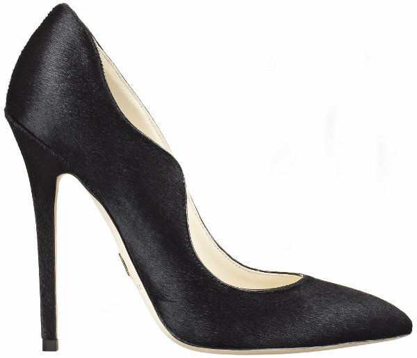 "Brian Atwood Black Calf-Hair ""Besame"" Pumps"