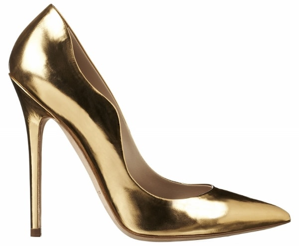 "Brian Atwood Gold Leather ""Besame"" Pumps"