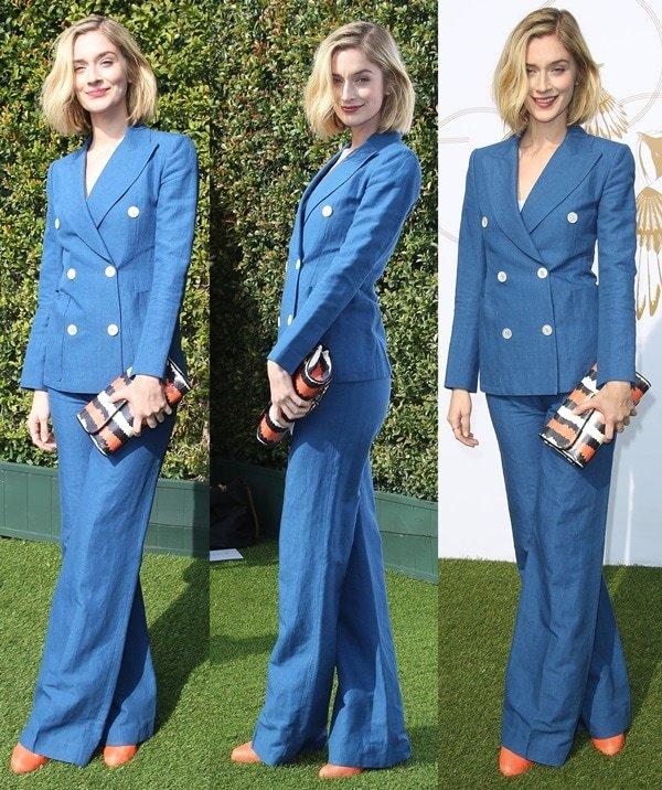 Caitlin Fitzgerald ina gorgeous chambray suit from Louis Vuitton's Resort 2014 collection