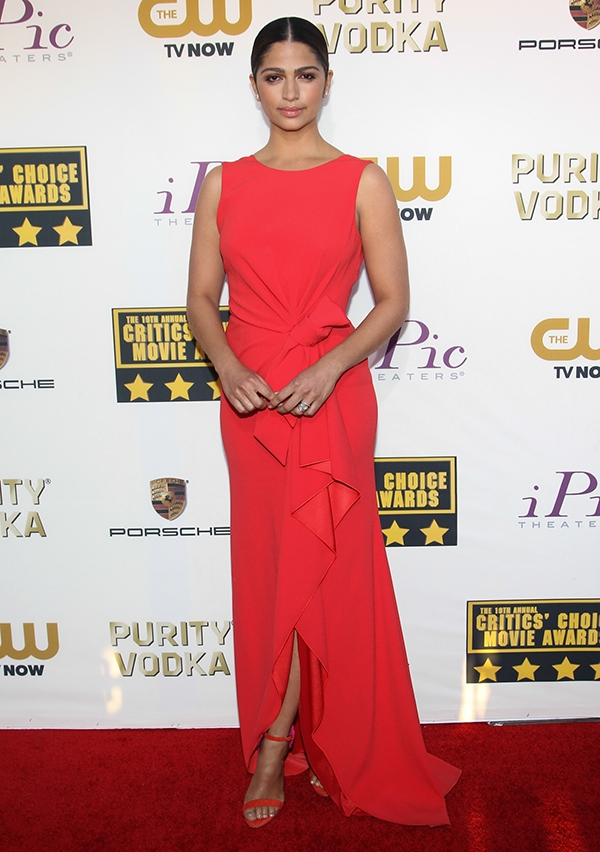 Camila Alves at the 19th Critics' Choice Movie Awards held at The Barker Hangar in Santa Monica, California, on January 16, 2014