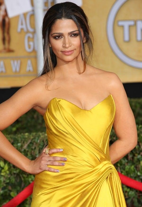 Camila Alves wearing a draped silk Donna Karan Atelier gown