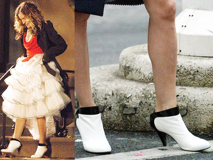 The mod black-and-white booties that make perfect sense to be paired with a big, poufy skirt