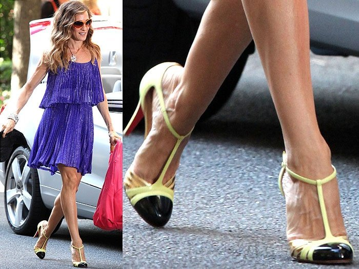 The black/gold/neon-yellow t-straps that made Carrie Bradshaw's purple Halston Heritage dress