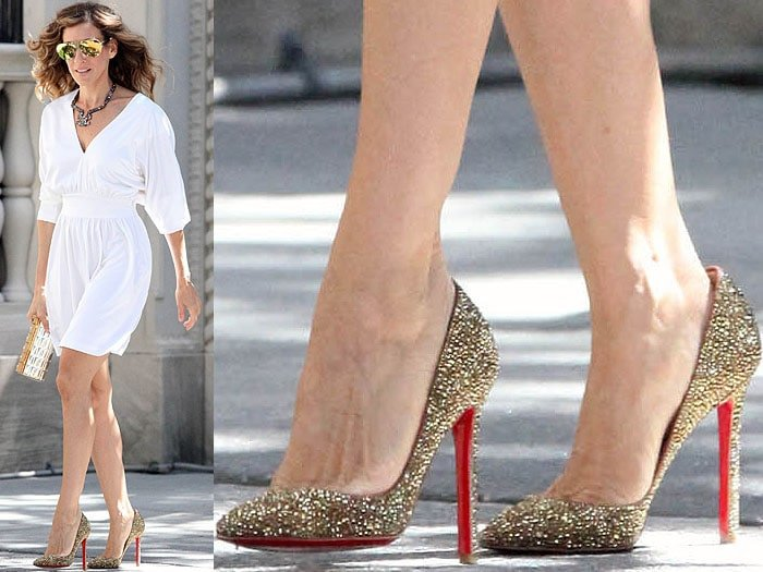 The sparkly gold Louboutins Carrie Bradshaw expertly hailed a cab in