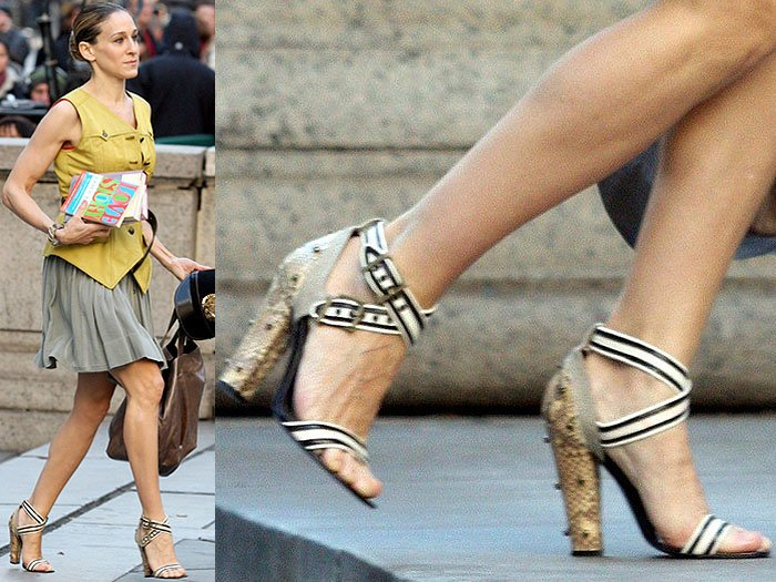 The studded-snake-heeled sandals Carrie wore to scout the New York Public Library as a wedding venue
