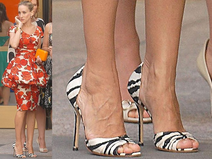 The zebra-print sandals that magically don't look weird with a floral-print dress