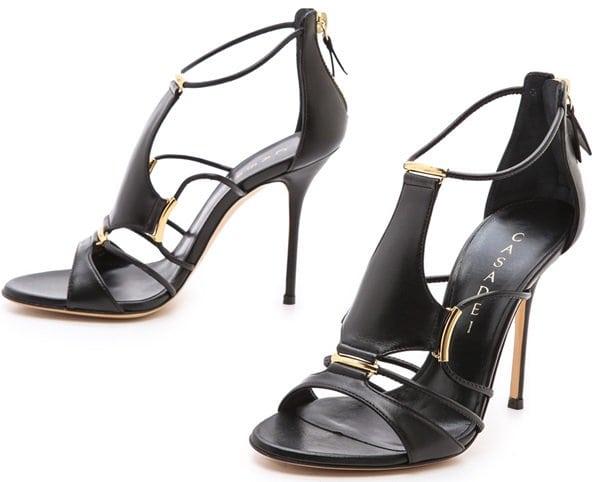 Casadei Strappy Stiletto Sandals in Black/Gold