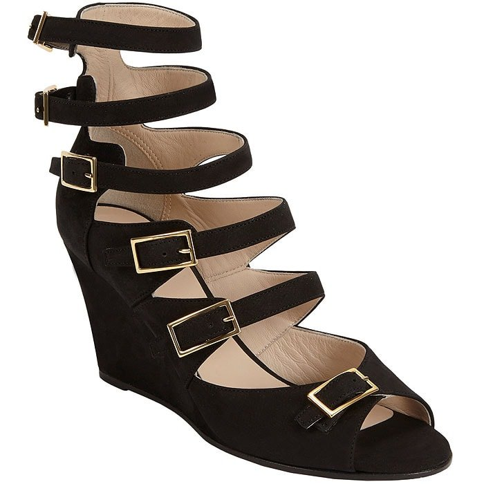Chloé Multi-Buckled Strappy Wedge Sandals