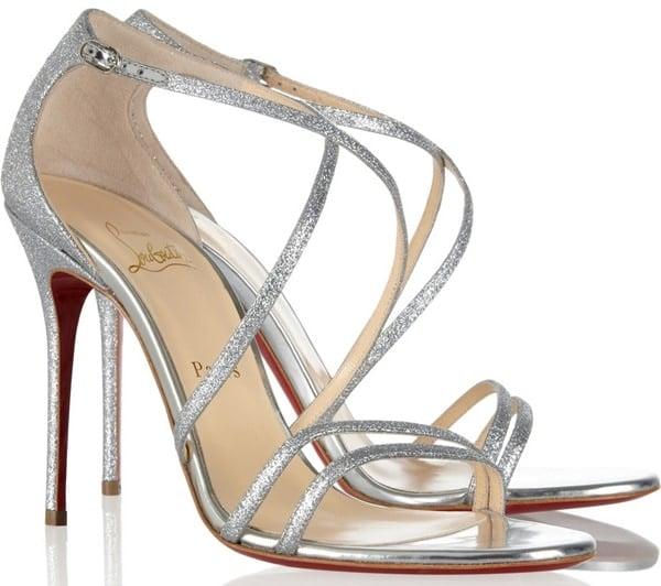"Christian Louboutin ""Gwynitta"" Open-Toed Sandals in Glitter"