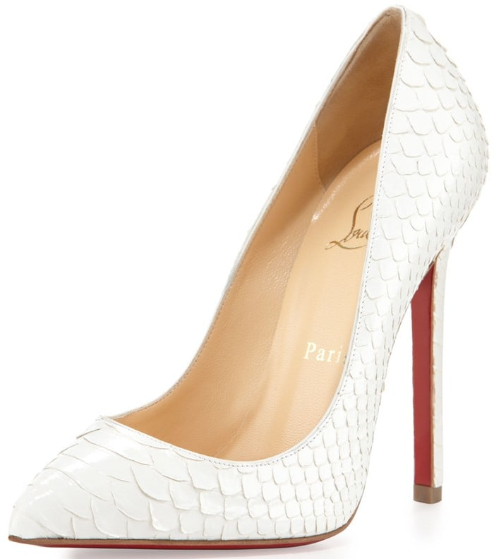 Christian Louboutin Pigalle Python Point-Toe Red Sole Pump