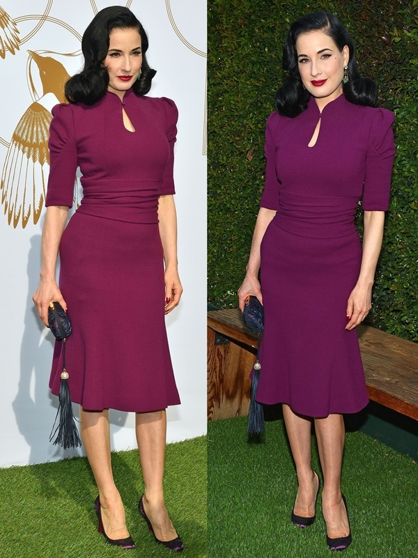 Dita Von Teese in a purple three-fourth-sleeve sheath dress with a waist-cinching center from the the Carolina Herrera Fall 2013 collection