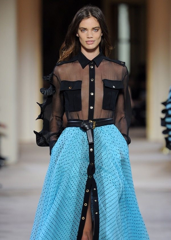 A model walks the runway during the Emanuel Ungaro Ready to Wear show
