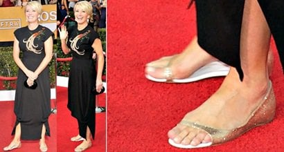 Emma Thompson Shows Off Her Feet In Toboggan D Orsay Flats