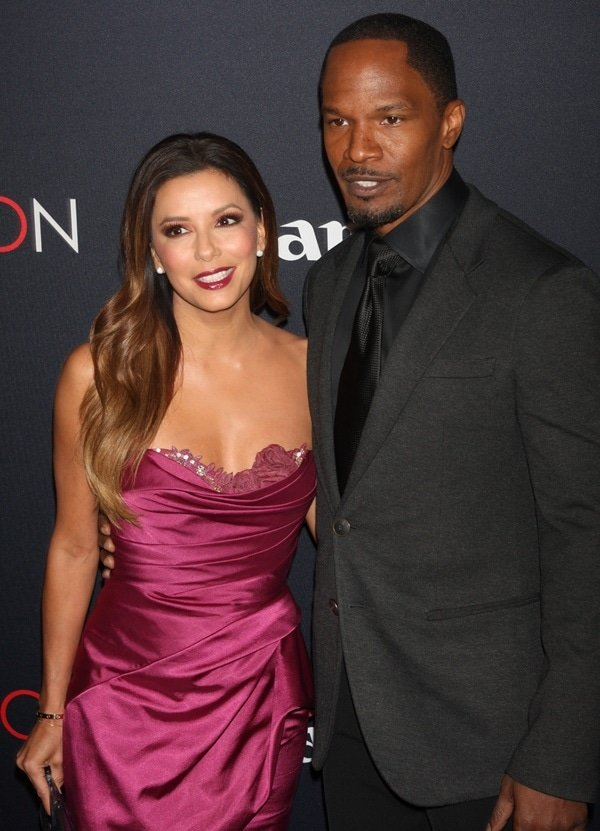 Eva Longoria and Jamie Fox at the premiere of Canon's Project Imaginat10n Film Festival at Alice Tully Hall in New York City on October 24, 2013