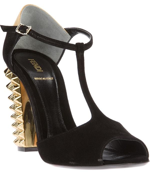 Fendi Studded Suede T-Bar Sandals in Black/Gold