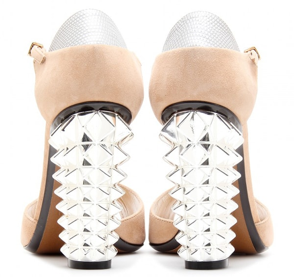 Fendi Studded Suede T-Bar Sandals in Nude/Silver