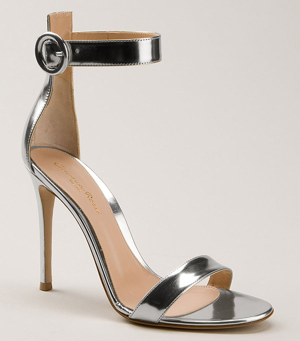Gianvito Rossi Silver Polished Leather Sandals