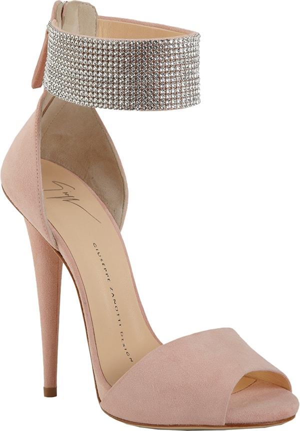 Giuseppe Zanotti Crystal Ankle Cuff Sandals Blush