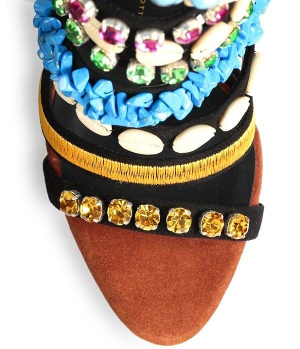 Giuseppe Zanotti Multicolor Strappy Embellished Close Up